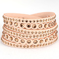12pcs Wholesale Double wrap Bracelets With Crystal Bling Strip Bracelet Crystal Glimmering a gradation For Women Gift B1585