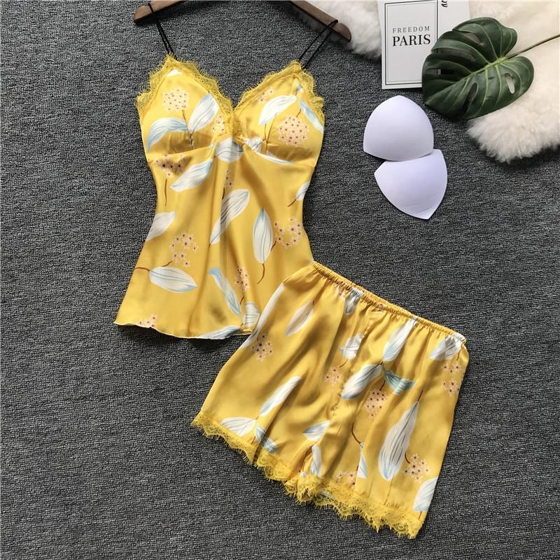 Pyjama d'été sexy en satin pour fe ...