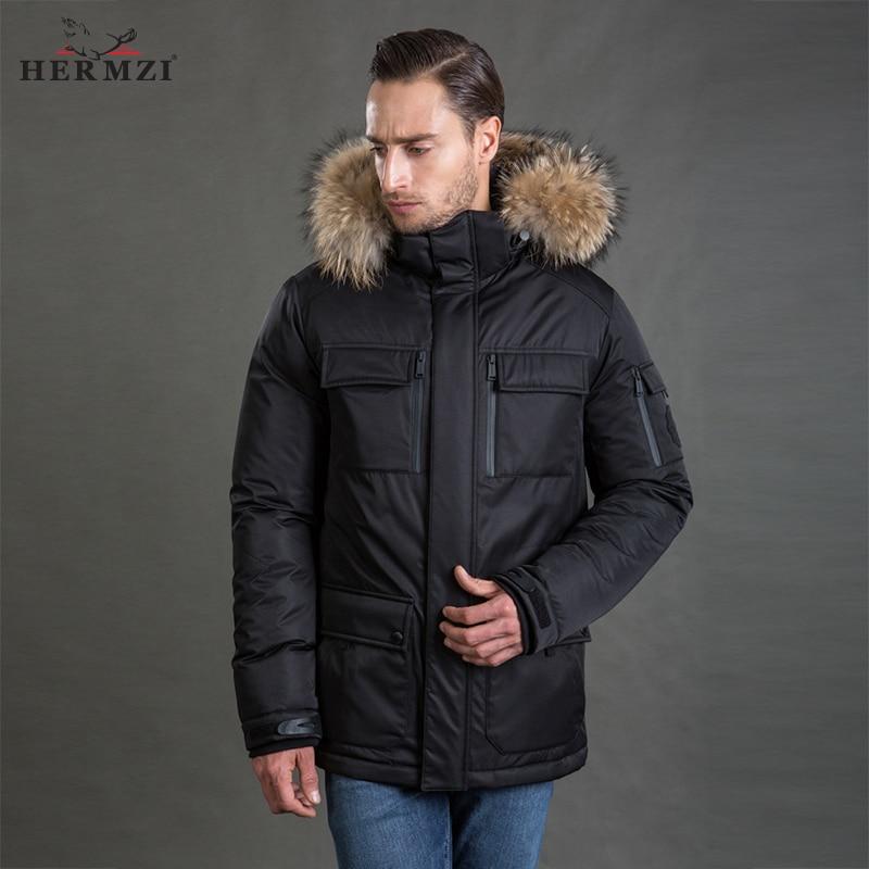 HERMZI 2019 Winter Jacket Men   Parka   Thick Padded Coat Thinsulate Jacket Detachable Hood Raccoon Fur European Size Free Shipping