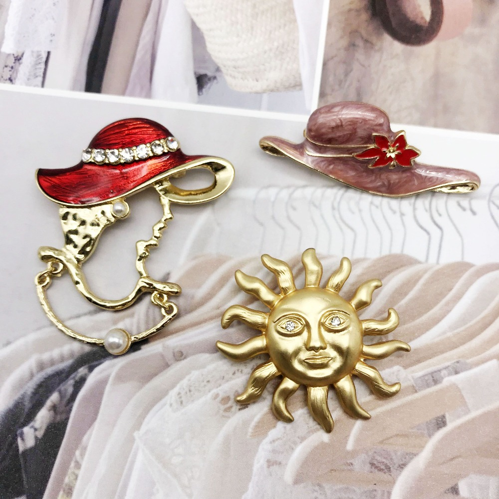 Free Shipping New Sweet Hat Red Pink Enamel Alloy Elegant Brooches