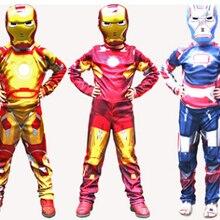 Железный человек Марка 42/Патриот мускул Дети Хэллоуин Костюм Фантазия супергерой для косплея Железного человека костюм с маской
