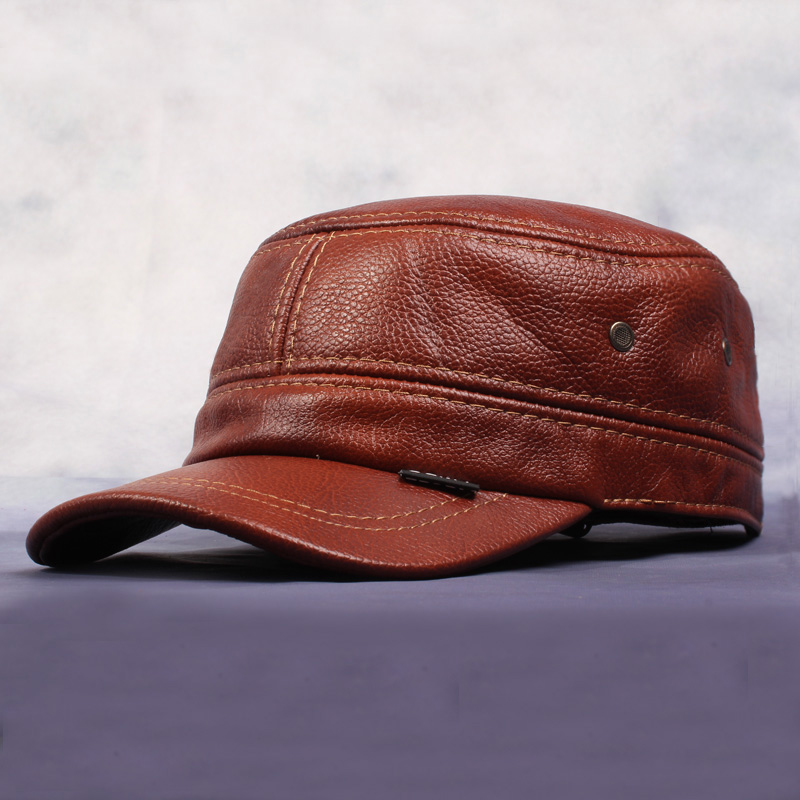 New Arrival Antique Color Baseball Caps Men'S Genuine Leather Warm Autumn And Winter Hats Cowhide Ear Flaps Cap