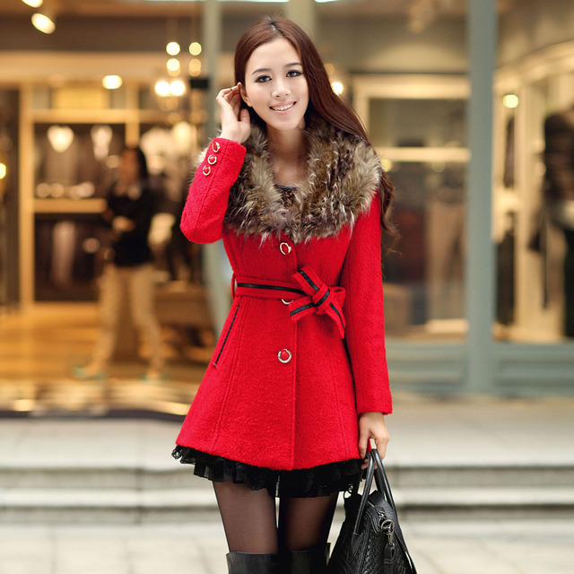 2013 winter female women's fashion slim waist woolen outerwear large removable fur collar red wool coat 2219