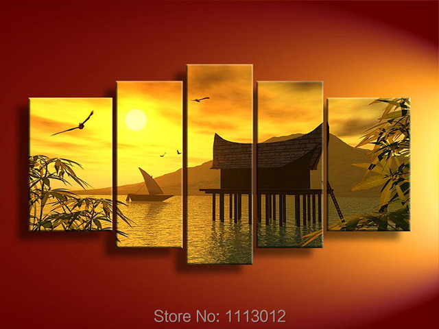 Yellow Lake Boat House Tree Oil Painting On Canvas 5 Pcs Sets ...