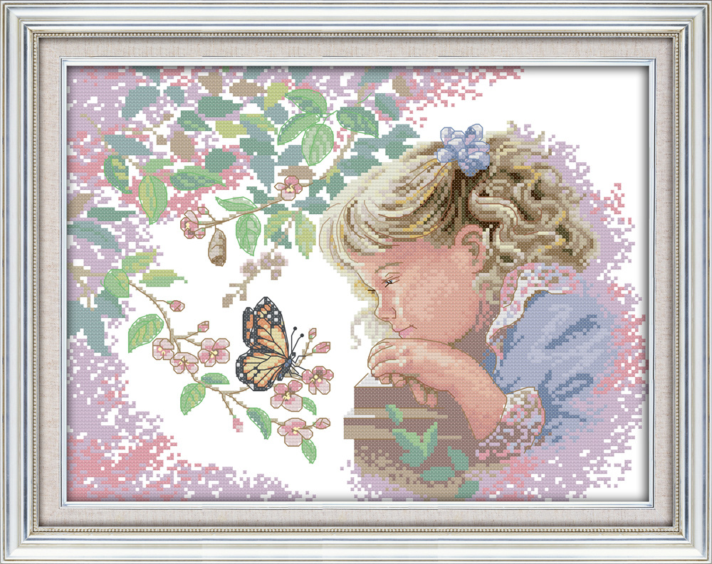 Little Girl With Balloons Cross Stitch KitChoice of CTPrinted or Counted