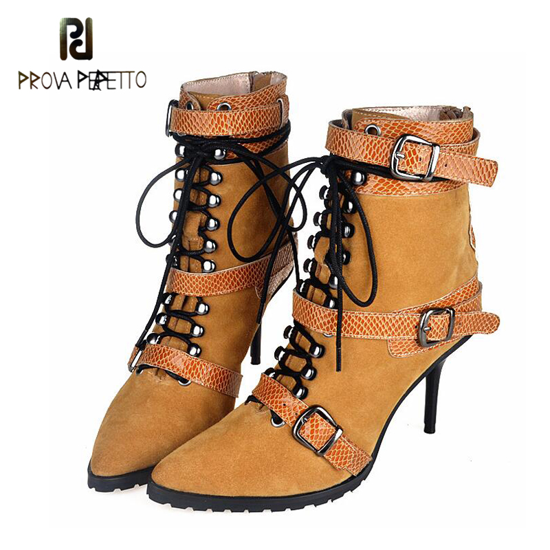 Prova Perfetto British Style Female Boots Stiletto Pointed Toe Sexy Short Bota Belt Buckle Lace Up Cool Boots New Arrival europe and the united states new handsome british wind pointed thick boots snake belt buckle especially exquisite single boot