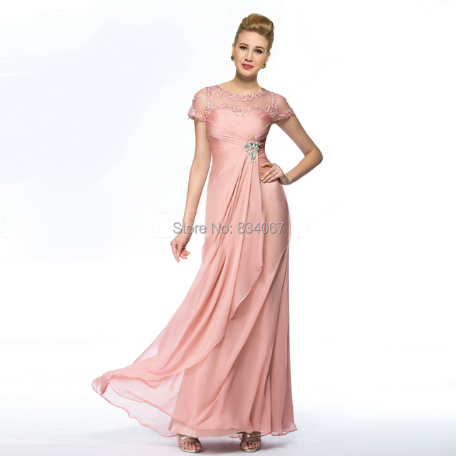 Simple Short Cap Sleeves Evening Dress Ruched Prom Dresses 2016 Floor  Length Chiffon Party Gowns with Lace Crystals vestidos 916047f94