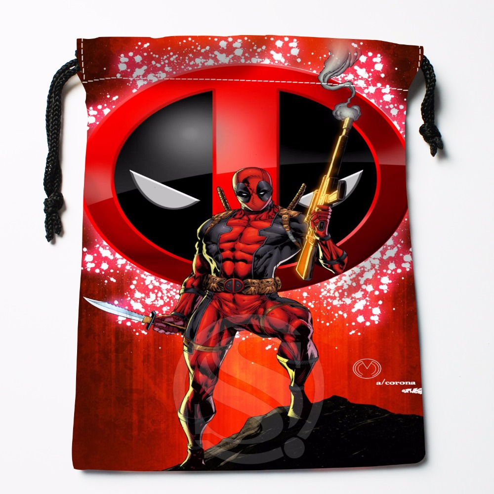 Fl-Q94 New Deadpool Logo Custom Printed  Receive Bag  Bag Compression Type Drawstring Bags Size 18X22cm 711-#Fl94