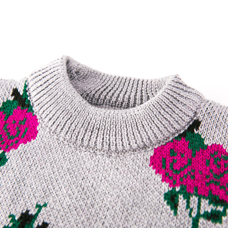 ec8772d858ef0 Vintage princess Girls Sweater Toddler kids full rose design pullovers Long  Sleeve tops for Girls Clothing 2t 7-in Sweaters from Mother   Kids on ...