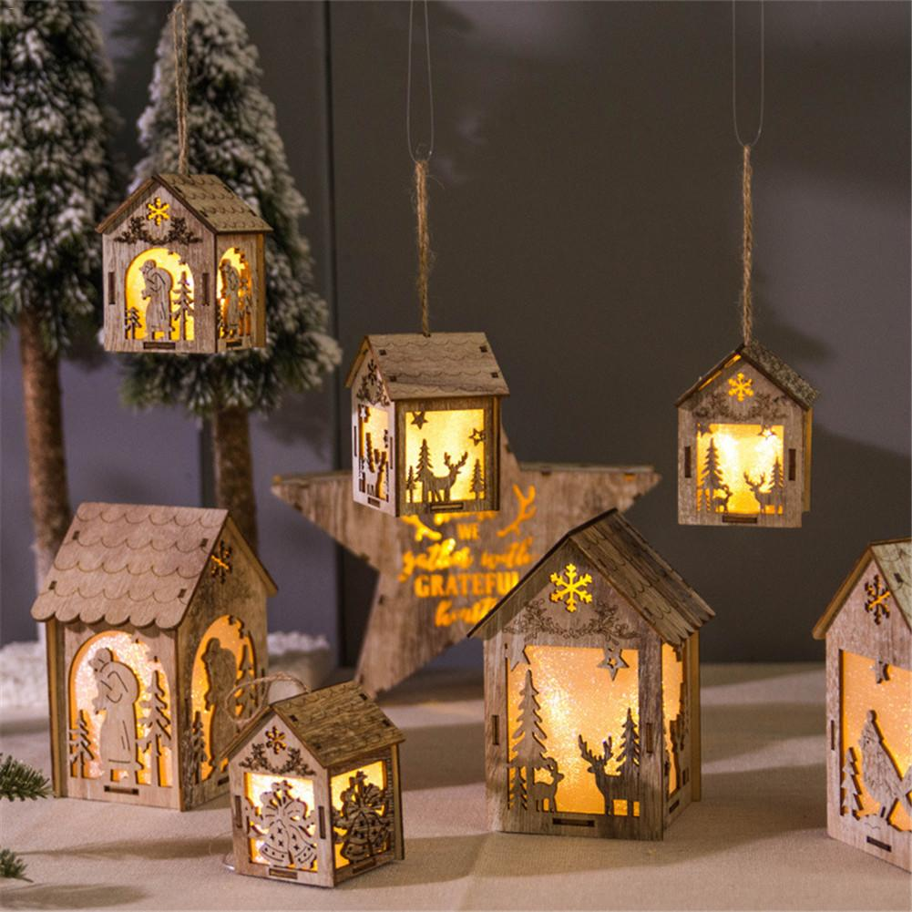 Christmas Wooden Diy House Hanging Decor Led Light Showcase Storage Shelf Christmas Tree Holiday