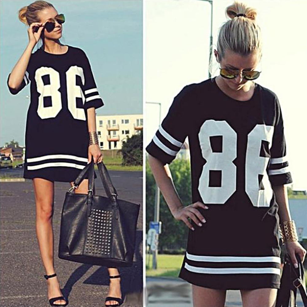 f1138dde US $2.68 29% OFF|Fashion Summer Women 86 Baseball Oversized Tee T shirt Top  Varsity Loose Dres.s Number Print Short Sleeve long navy T shirt-in ...