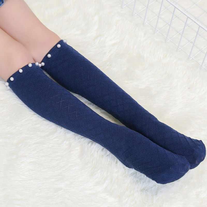 c751db40e66 ... Baby Girl Cotton Middle Tube Socks Grated Pearl Mesh Knee High school  dance Socks Age 3 ...