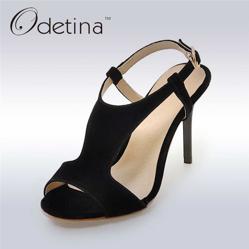 Odetina 2017 New Fashion Women Sexy High Heel Sandals T Strap Buckle Thin Heel Open Toe Summer Party Shoes Stiletto Big Size 48 t strap round toe women lolita wedge high heel shoes new 2017 side open japanese style wedges with buckle straps free shipping