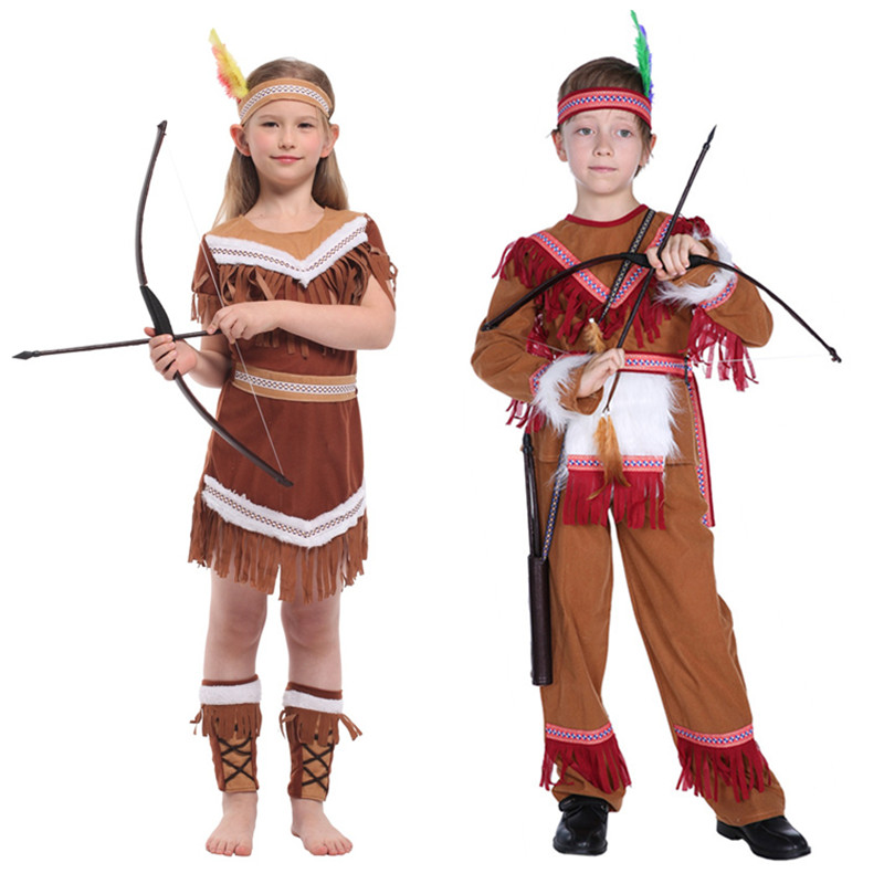 Halloween Mardi Gras Costumes American Indian Princess Cosplay boys Native Hunter Huntress Costume Girl Fancy Dress for Kids