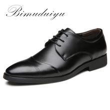 BIMUDUIYU 38-47 High Quality Leather Dress Shoes Tide Pointed England Style Business Wedding Formal Flats Black For Men