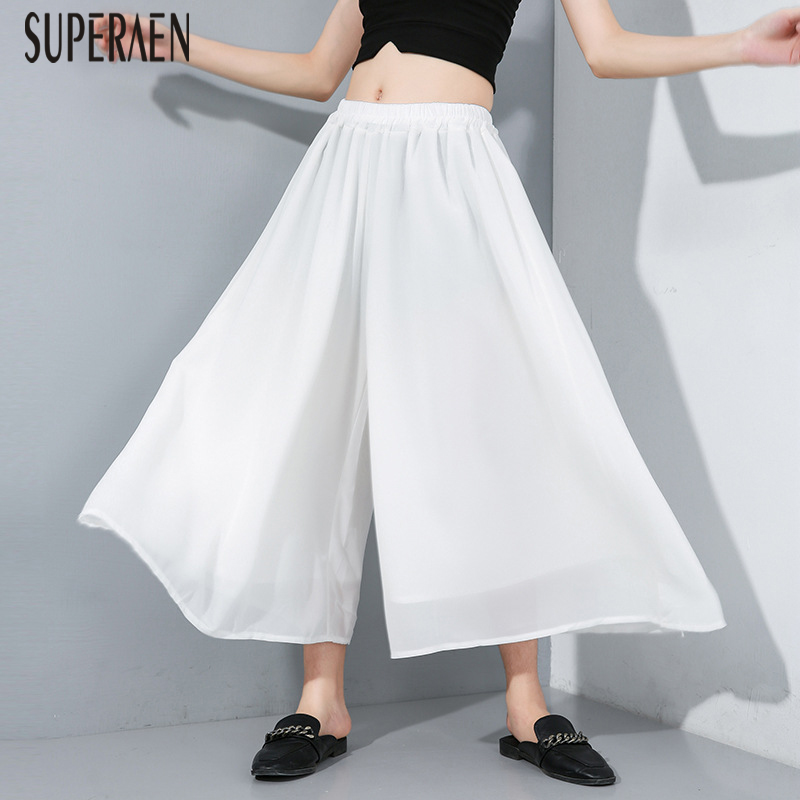 SuperAen Europe Women Ankle Length   Pants   2019 Summer New Elastic Waist Pure Color   Wide     Leg     Pants   Female Pluz Size Chiffon   Pants