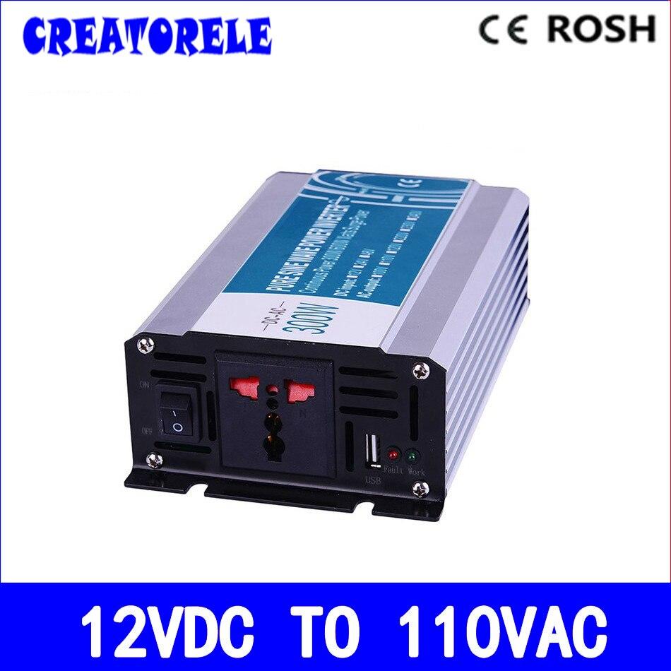 ФОТО 300W 12v dc to 110v ac  pure sine Wave inverter voltage converter off grid solar inverter electric power inversor P300-121