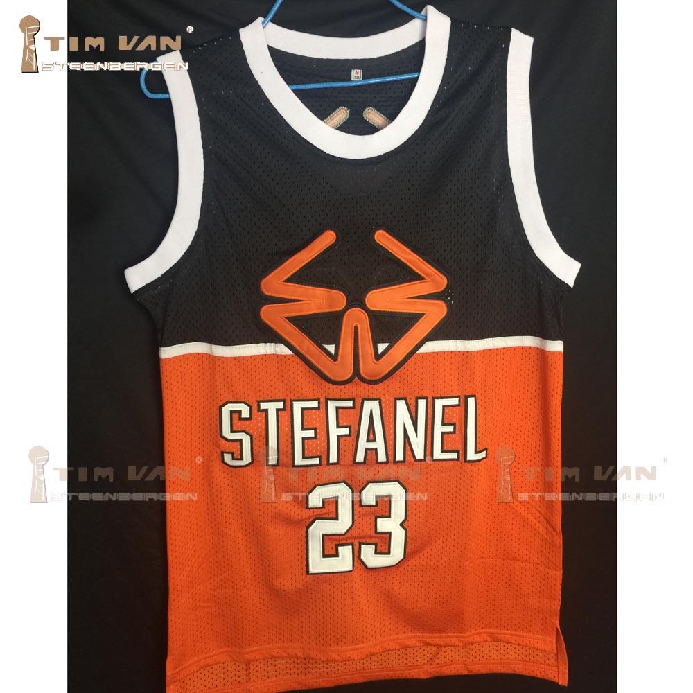 TIM VAN STEENBERGEB 1985 Stefanel Trieste Jordan Exhibition Game Basketball  Jersey Stitched Sewn 2e7c123ca