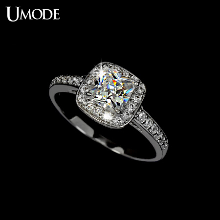 UMODE White Gold Color 125ct Princess Cut Cubic Zirconia Anelli Donna Bijoux Wedding Rings For