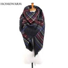 Homewarm Winter Women Scarves Large Tartan Scarf Pashmina Warp Shawl Acrylic Black Checked bandana echarpe