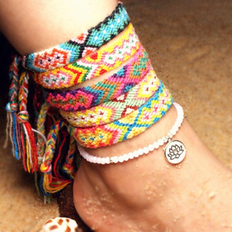 <+>  Богемия Хлопок тканые женские Йога-ножные браслетыРучные браслеты Lotus Crystal Anklet Набор Ножные  ★