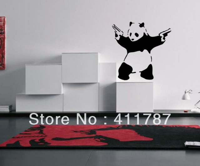Incroyable Superior Free Shipping Home Decor Cool Guner Panda Wall Decor Boy Bedroom Wall  Stickers In Wall