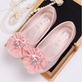 new 2016 style  fashion princess  girl  leather shoes   with lace rhinestone Littleswan girls  flats children  dance shoes #1562