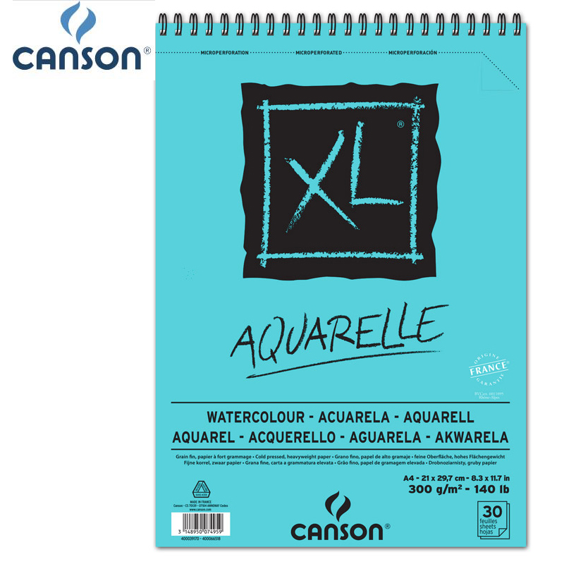 A4 France Canson XL Aquarelle Aquarelle peinture livre blanc chaud papier Pad 30 feuilles 30 feuilles pour aquarelles gouache acrylique
