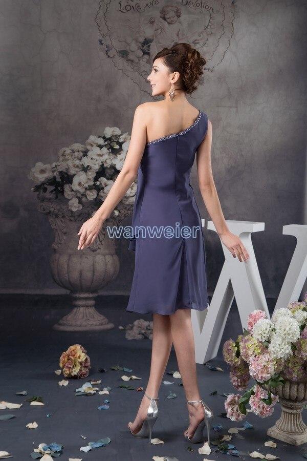 free shipping brides 2015 new design sexy one shoulder abiti da sera beading knee length chiffon cheap Bridesmaid Dresses in Bridesmaid Dresses from Weddings Events