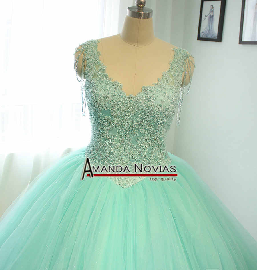 9a623c47a71 ... High Quality Customer Order Mint Green Wedding Dress Ball Gown Style 100%  Real Photos ...
