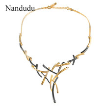 Nandudu Gun Gold Color Metallic Necklace Statement Cross Jewelry for Women Punk Style Female Party Jewelry Gift CN363(China)