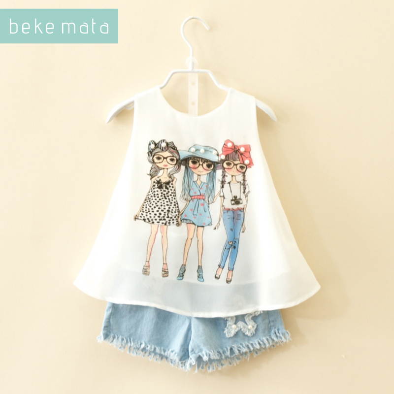 BEKE MATA Kids Girls Clothing Set Summer 2018 New Sleeveless Fashion Girl Vest+deim Shorts 2PCS Chidren Suit Girl Clothes 2-7Y