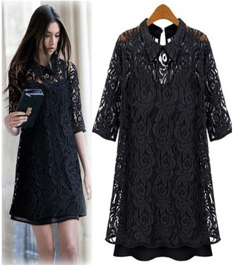 news 2014 women vintage korean style party dresses roupas femininas  vestidos de fiesta casamento on sale black lacy formal dress 77880b49e