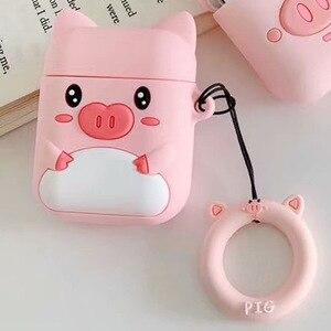 Image 5 - Чехол для наушников с защитой от потери для Apple Airpods, милый мягкий силиконовый чехол для женщин и девочек с 3D рисунком розовой свиньи для Airpods, с ремешком кольцом