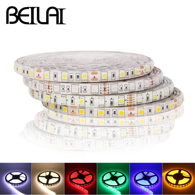 Beilai Smd 5050 Rgb Led Strip Waterproof Dc 24v Light Strips 5m 300led 60led M Flexible Neon Tape Luz Home Lighting