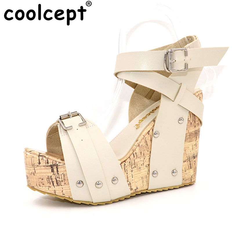 Coolcept Free shipping high heel wedge sandals platform fashion women dress slippers shoes pumps footwear P5852 EUR size 33-40 nayiduyun women genuine leather wedge high heel pumps platform creepers round toe slip on casual shoes boots wedge sneakers
