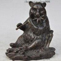 christmas Old China Pure Bronze national treasure Panda bearcat eat Bamboo lucky Statue halloween