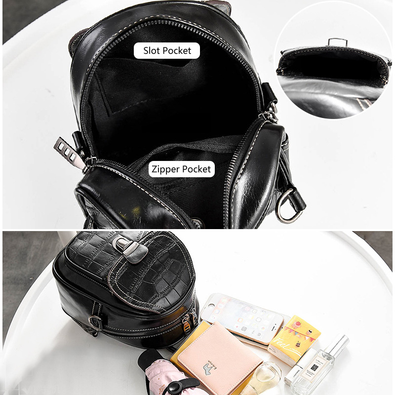Pu Leather Bag Backpack Female Black Women's Backpacks For Girls Mini Back Pack Fashion Small Backpack Women Cute Shoulder Bags