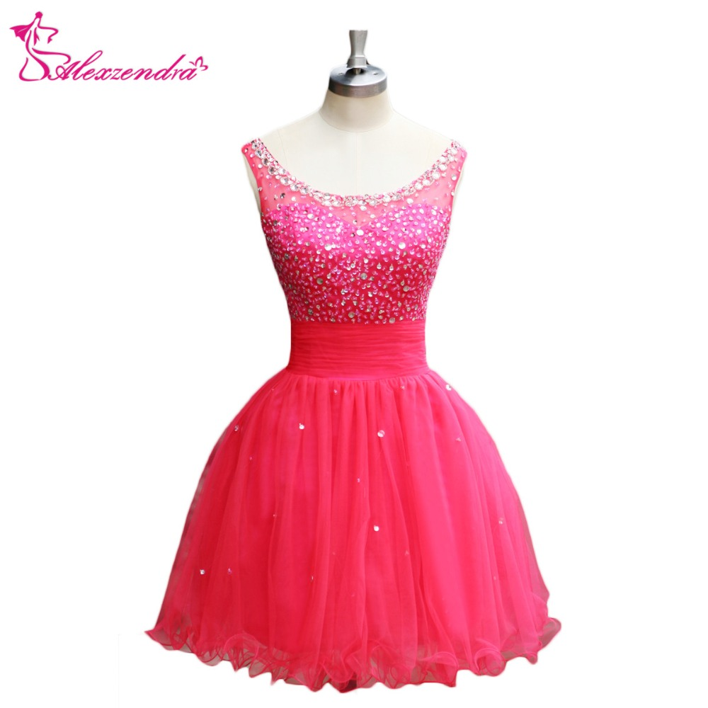 Alexzendra Pink Scoop Neck Beads Organza A Line Simple   Prom     Dresses   Customize Special Party Gowns