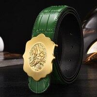 2017 Gold Flower Buckle Genuine Leather Belt Business Casual Men Belts Black Coffee Green Orange Quality Guarantee ZH333