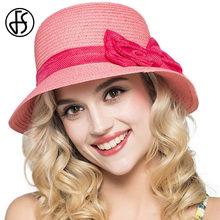 79bcd9ae78c89 FS Straw Cloche Chapéus De Palha do Verão Chapéus Para Mulheres Rosa  Romântico Moda Casual Praia UV Sunbonnet Moda Sombreros