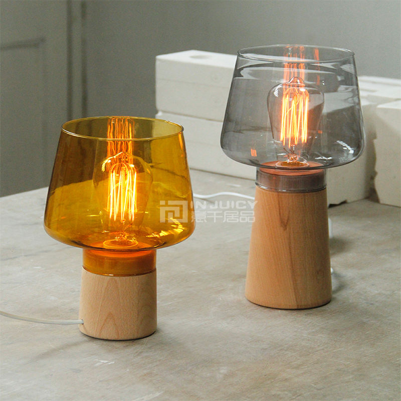 Nordic LED Wood Glass Table Light Desk Lamp Lighting Bedroom Home Living Reading Room Corridor Loft Club Hall Decor Gift Brown