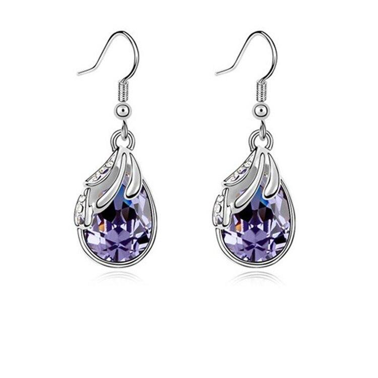Silver Water Drop Earrings White Women Pendientes Nickel Free Brincos De Prata 2