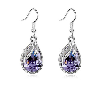 Silver Water Drop Earrings White Women Pendientes Nickel Free Brincos De Prata 2