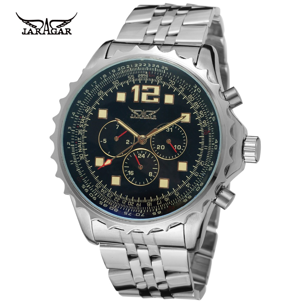 все цены на  JARAGAR Men Luxury Brand Watch Stainless Steel Sport Tourbillion Automatic Mechanical Wristwatches Gift Box Relogio Releges 2016  в интернете