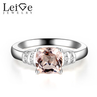 Leige Jewelry Morganite Engagement Rings Pink Gemstone Wedding Promise Ring Cushion Cut 925 Sterling Silver Fine Jewelry