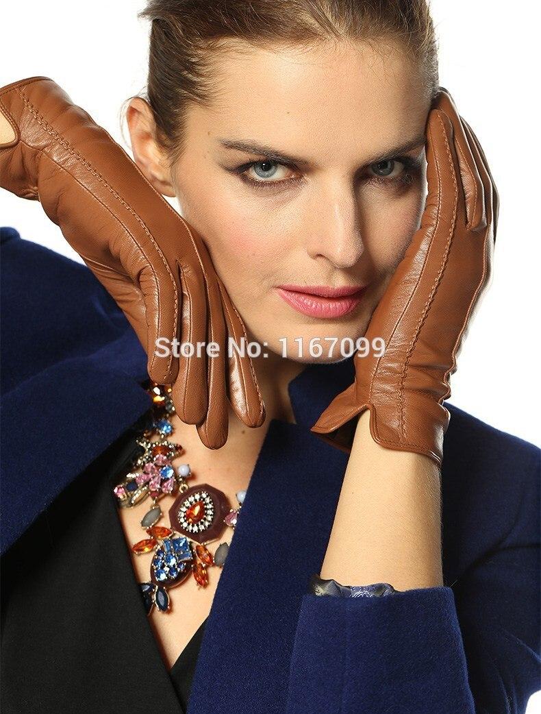 Womens leather gloves purple - New 100 Genuine Leather Gloves For Women Winter Glove Warm Black Brown Dark Brown Purple Navy Wine