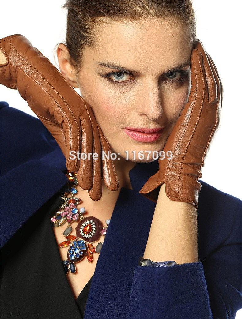 High quality womens leather gloves - New 100 Genuine Leather Gloves For Women Winter Glove Warm Black Brown Dark