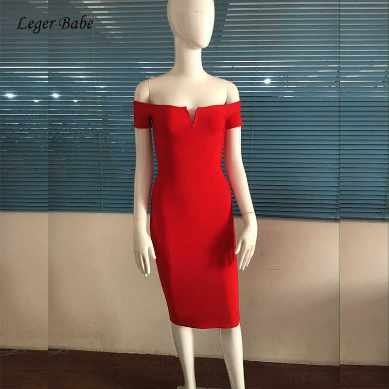 2018Hot Продажа Красный с открытыми плечами Для женщин элегантные облегающие платье обтягивающее HL Эластичные Трикотажные Высокое качество Вечерние Клубные летние платья