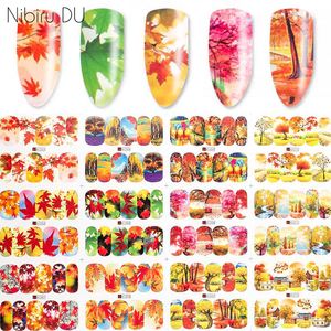 12pcs/set Water Nail Stickers Autumn Dreamcatcher Colorful Style Wrap Sliders Nail Decal For Nails Art Decorations